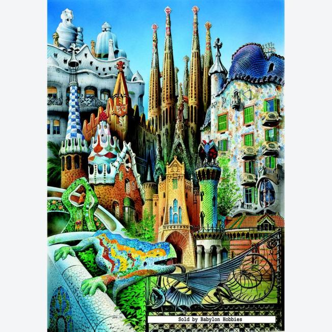 Collage of Barcelona City, Gaudi's artwork - on the web