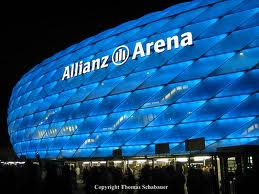 view of Allianz Arena from outside at night (on the web)