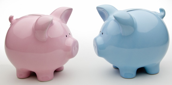 Blue And Pink Piggy Banks via flickr by Ken Teegardin